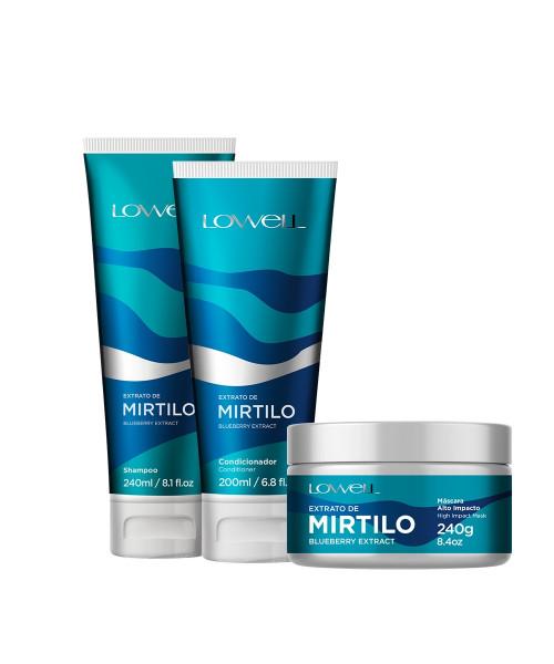 Lowell Extrato de Mirtilo Kit Tratamento e Nutrição (3 produtos)