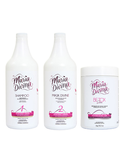 Maria Divina Black Garlic e Ojon Oil Kit Escova Progressiva (2x1L) + Btx Silver 1Kg